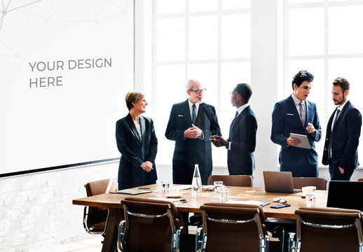 5 Businesspeople in a Conference Room with a Whiteboard Mockup