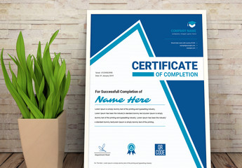 Certificate of Achievement Layout with Blue Elements