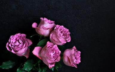 bouquet rose on dark background Valentine's Day birthday women's Day concept