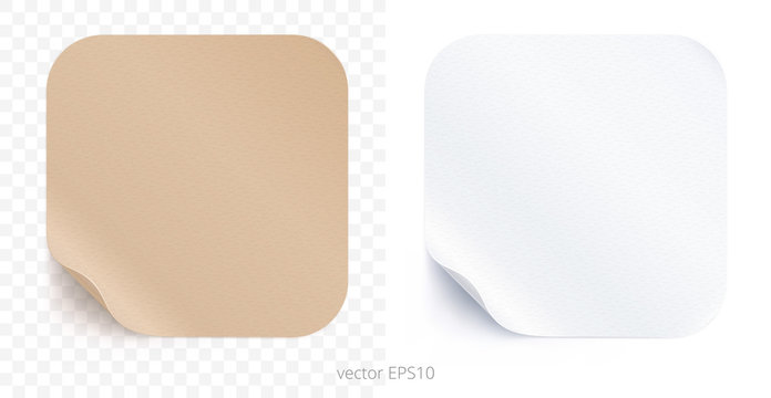 Vector set of adhesive stickers with a folded edges. Tan cardboard and white paper rounded squares. Blank templates of a price tags. Empty mockup for any memos. Realistic textures. Transparent shadows