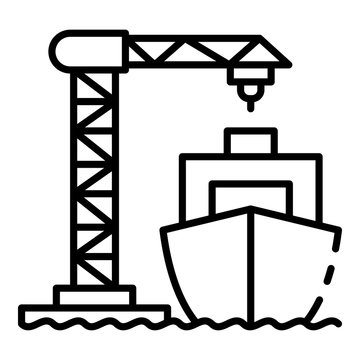 Ship load port crane icon. Outline ship load port crane vector icon for web design isolated on white background