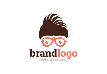 Logo Layout with Hair and Glasses