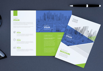 Brochure with Blue and Green Accents