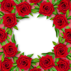 A background of red roses and green leaves around on a coral background with a white circle in the center. Vintage style. Mock-up.