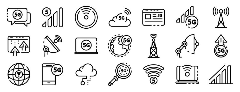 5G technology icons set. Outline set of 5G technology vector icons for web design isolated on white background