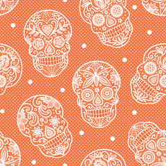 Seamless vector pattern with lace sugar skulls on orange background.