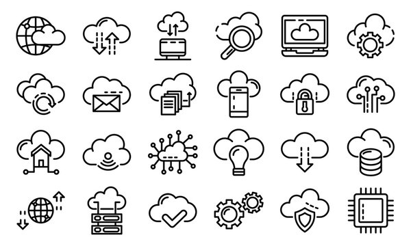 Cloud technology icons set. Outline set of cloud technology vector icons for web design isolated on white background