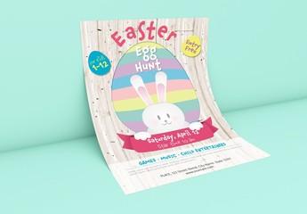 Easter Egg Hunt Poster with Pastel Illustrations
