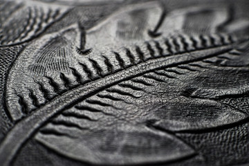 Embossed shiny black leather with the floral motifs - close up to the detail