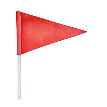 Watercolour illustration of colorful bright red flag on white tall flagpole. One single object, triangular shape. Handdrawn graphic drawing on white background, cutout clip art element for design.