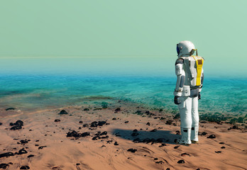 Astronaut at the beach of artificial water reservoir, lake, wearing a space suit on Mars or another planet after terraforming. 3D illustration
