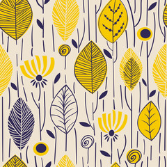 Vector seamless pattern with hand drawn leaves. Trendy scandinavian design concept for fashion textile print. Nature illustration