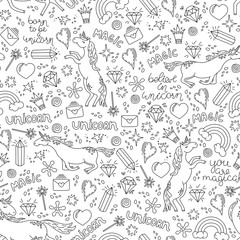 Black and white hand-drawn seamless pattern with unicorns. Vector illustration.