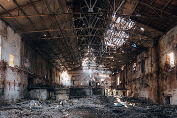 Abandoned and destroyed sugar factory in Ramon, Voronezh region