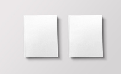 Two white books on light background