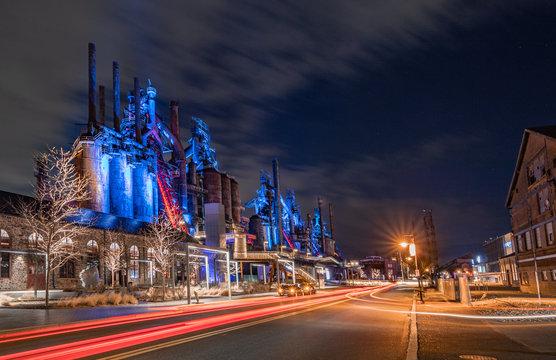 Steel Stacks at Night in Bethlehem