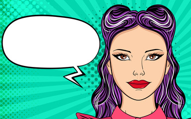 Young woman with open mouth, screams announcement. Vector colorful background in pop art retro comic style