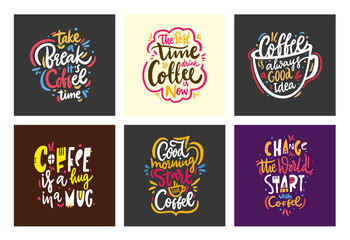 Quotes coffee typography collection set. Hand drawn vector lettering. Motivation phrase. Isolated on white background.