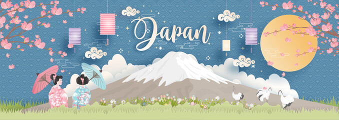 Fototapete - Panorama of travel postcard, poster, tour advertising of world famous landmarks of Japan with Fuji mountain and women in Kimono dress in paper cut style. Vector illustration
