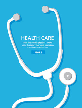 Stethoscope medical icon.Health care..Flat vector.