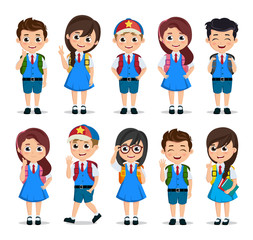 Student characters vector set. School kids cartoon characters wearing school uniform with various poses and gestures for education related design elements. Vector illustration.