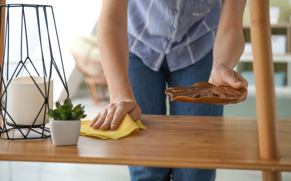 Woman cleaning furniture in room