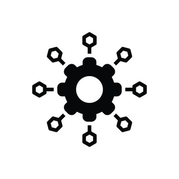 Black solid icon for microservices  software