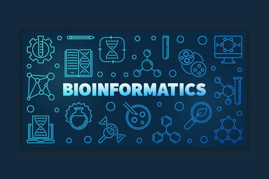 Bioinformatics concept blue outline banner on dark background. Vector linear illustration