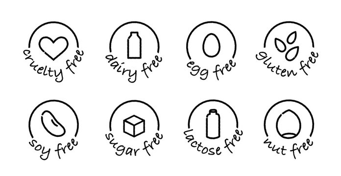 food allergens black and white icons set
