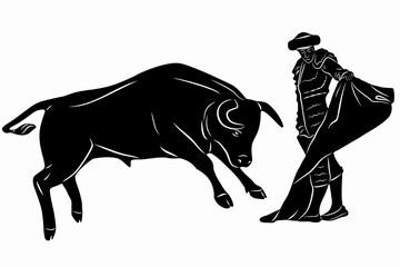 illustration of matador and bull , vector draw