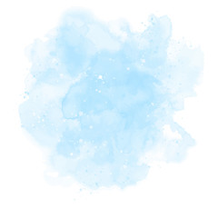 Blue watercolor background. Abstract vector paint splash, isolated on white backdrop. Aquarelle texture.