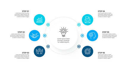 Vector infographic template with circles. Business concept with 6 options.