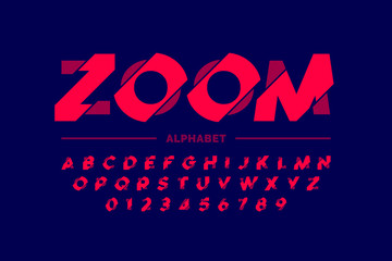 Modern font design, zoom style alphabet letters and numbers Wall mural