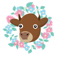 sticker with cow vector