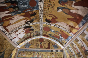 Wall painting and decoration of the tomb: ancient Egyptian gods and hieroglyphs in wall painting