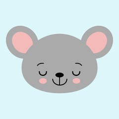 Cute cartoon mouse face. Little kawaii mouse. Vector illustration for children.