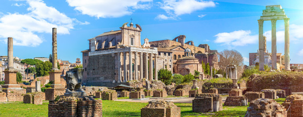 Roman Forum in sunny day, Rome, Italy
