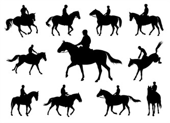 Horse silhouettes Jockey graphic vector illustration set