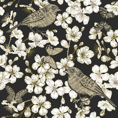 Japanese cherry, bird and butterflies. Seamless pattern.