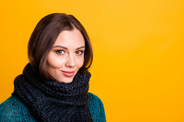 Close up side profile photo beautiful amazing her she lady soft warm scarf around neck overjoyed sweet kindhearted brown eyes wear green knitted pullover jumper isolated yellow background