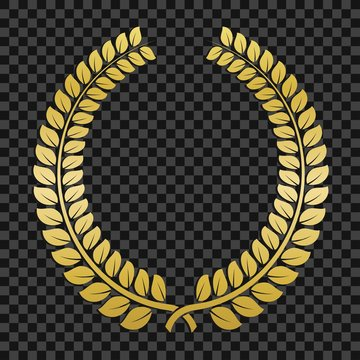 Golden laurel wreath on transparent background. Template design for awards, quality mark, diplomas, certificates, sport competition. Triumph, awards and trophies symbol.
