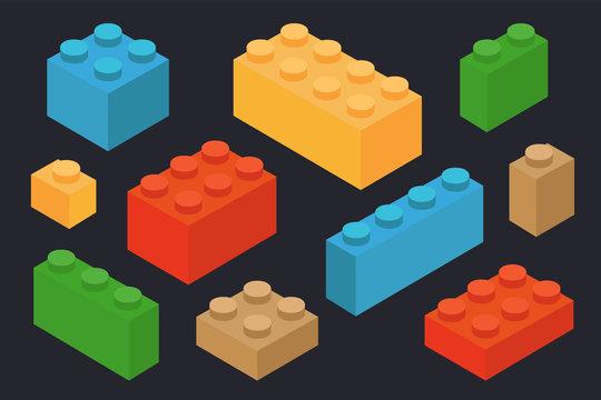 Isometric Plastic Construction Toy Parts Pieces Constructor Brick Block. Vector Color Flat Set.