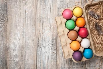 Easter eggs in cardboard egg box