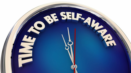 Time to Be Self Aware Knowledge Clock Words 3d Illustration