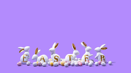 Easter Bunnies with Chocolate Candy on Purple Background, Isolated Copy Space
