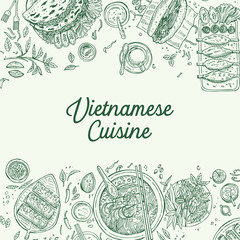 Fototapeta Hand drawn top view traditional Vietnamese food, Vector Illustration obraz