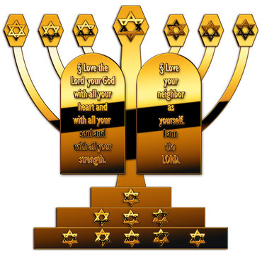 menorah and two plates
