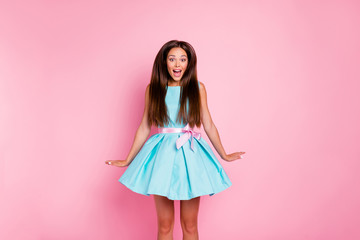 Portrait of her she nice-looking attractive sweet stunning cheerful cheery crazy funny feminine straight-haired lady having fun party jumping isolated over pink pastel background