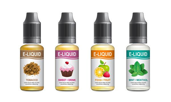 Realistic vector illustration of plastic bottles of e-liquid for vaping. Templates for e-liquid label