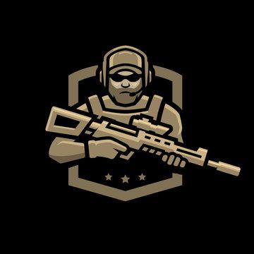 Special forces soldier. Logo, emblem on a dark background.